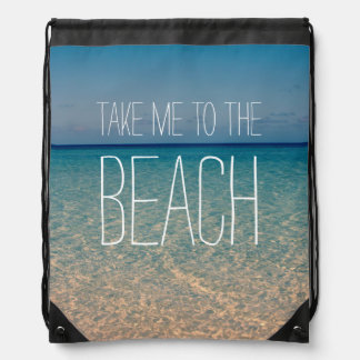 Take Me to the Beach Ocean Summer Blue Sky Sand Drawstring Bag