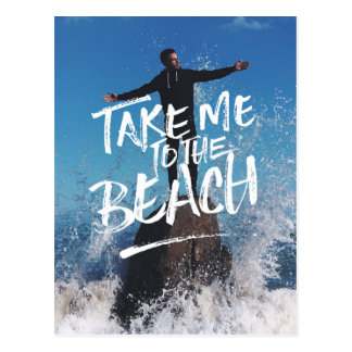 Take Me to the Beach Typography Photo Template Postcard