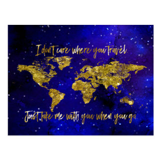 Take me with you when you go map postcard