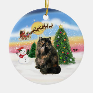 Take Off - Tortie Persian cat Christmas Ornament