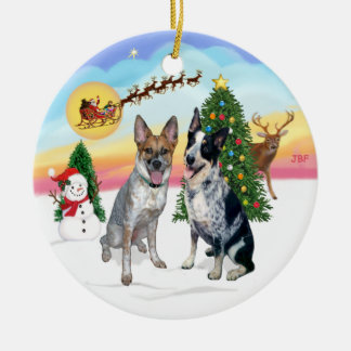 Take Off - Two Australian Cattle Dogs Round Ceramic Decoration