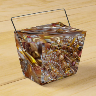 Take Out Favor Box- Earth Tones Bead Print Favour Box