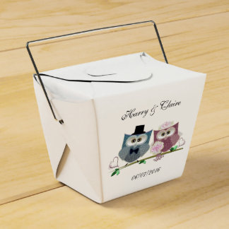 Take Out Favour Box with Cute Wedding Owls Art