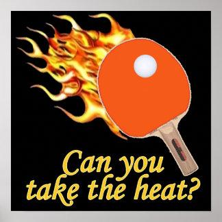 Take the Heat Flaming Ping Pong Poster