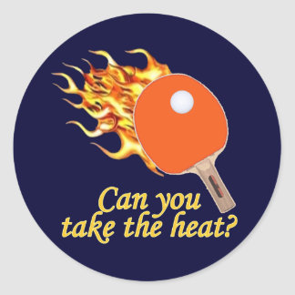 Take the Heat Flaming Ping Pong Round Sticker