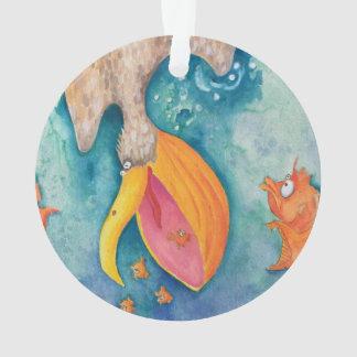 """Take the plunge!"" Pelican & Fish Art Ornament"
