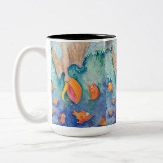 """""""Take the plunge!"""" Pelican & Fish Art Two-Tone Coffee Mug"""