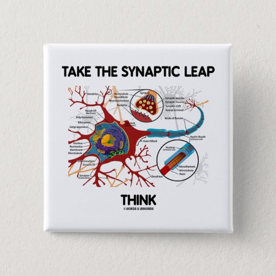Take The Synaptic Leap Think (Neuron / Synapse) 15 Cm Square Badge