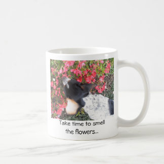 Take time to smell the flowers... basic white mug