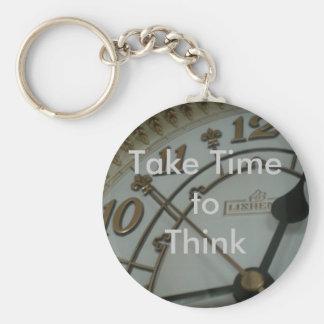 Take Time to Think Basic Round Button Key Ring