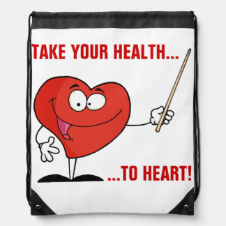 Take Your Health to Heart Drawstring Bags