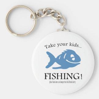 Take your Kids fishing! Basic Round Button Key Ring