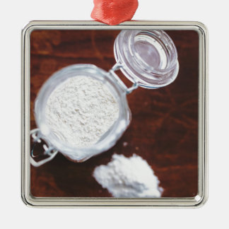 Take your Life with a Pinch of Flour Silver-Colored Square Decoration