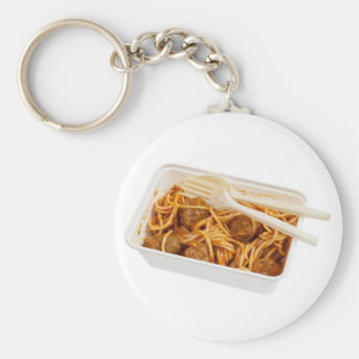 Takeaway meatball spaghetti basic round button key ring