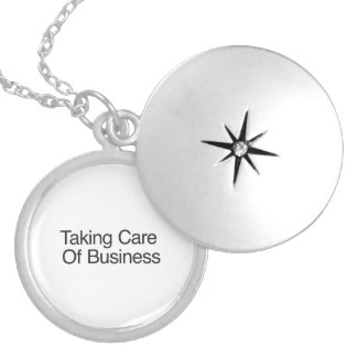 Taking Care Of Business Round Locket Necklace