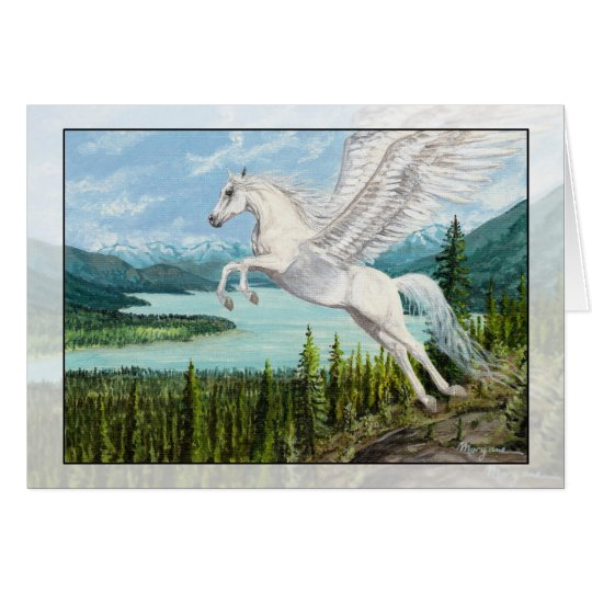 Taking Flight Pegasus horse fantasy greeting card