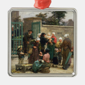 Taking in Foundlings (oil on canvas) Silver-Colored Square Decoration