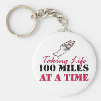 Taking life 100 miles at a time basic round button key ring