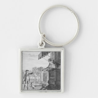 Taking up a bet, engraved by Camligue  c.1777 Silver-Colored Square Key Ring