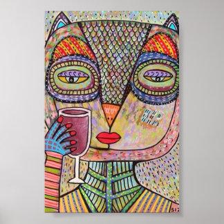 Talavera Pink Owl Drinking Red Wine Poster