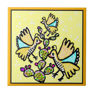 Talavera Style Tile - Quail on Yellow