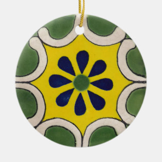 Talavera tile in green & yellow christmas ornament