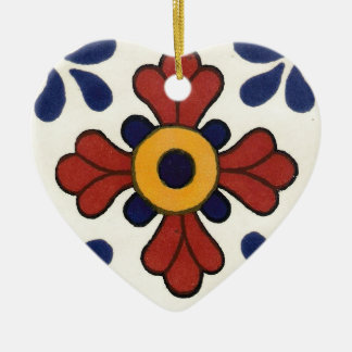 Talavera tile in red & blue christmas ornament