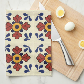 Talavera tile Kitchen towel in blue & orange