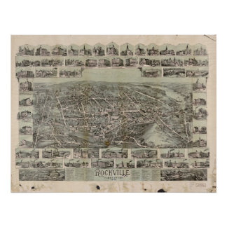 Talcottville Conn 1895 Antique Panoramic Ma Print