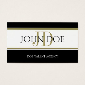 Talent Agency Gold Stripe W/W Business Card