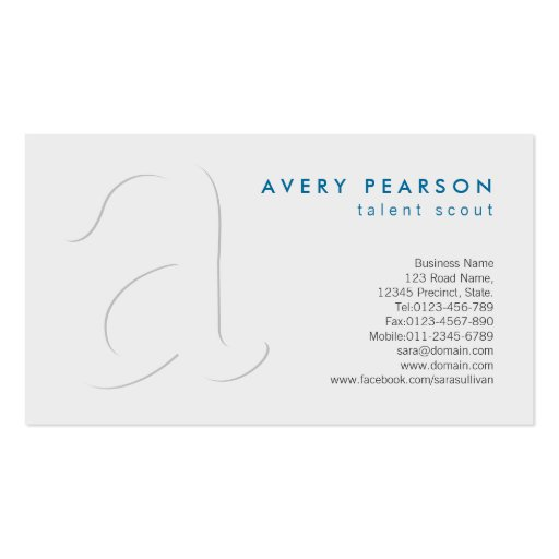 Talent Scout Elegant Shadow Monogram Business Card