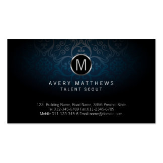 Talent Scout EntertainmentServices Monogram Damask Pack Of Standard Business Cards