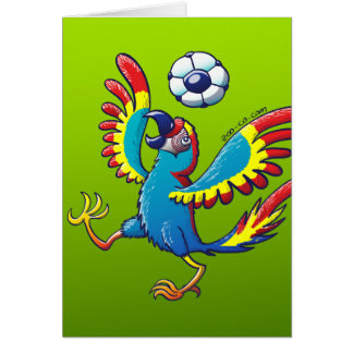 Talented Macaw Bouncing a Soccer Ball on its Head Greeting Card