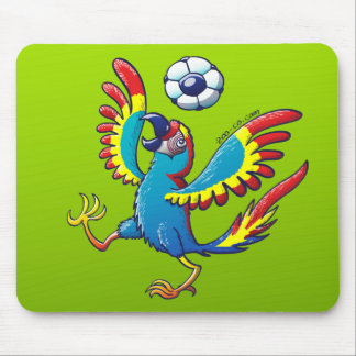 Talented Macaw Bouncing a Soccer Ball on its Head Mousepads