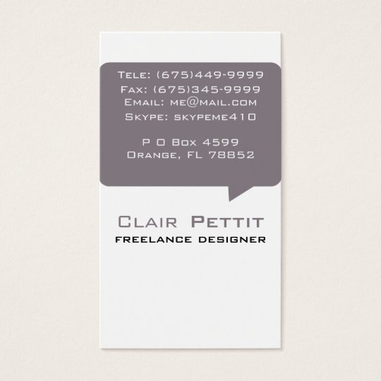 Talk Bubble Brown Business Card