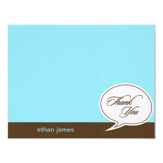 Talk Bubble Flat Thank You Cards - Blue - Custom Invite