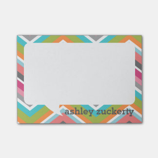 Talk Bubble Personalized Name Colorful Chevrons Post-it® Notes