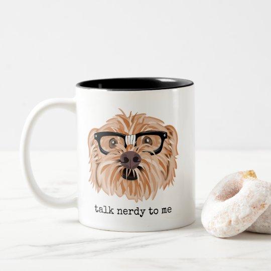 Talk Nerdy to Me Mug with Dog Wearing Glasses