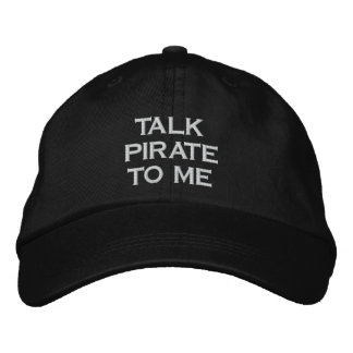Talk Pirate To Me Black Snapback Hat Embroidered Hats