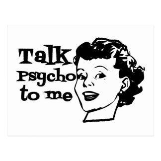 Talk Psycho To Me - Funny Retro Lady Postcards