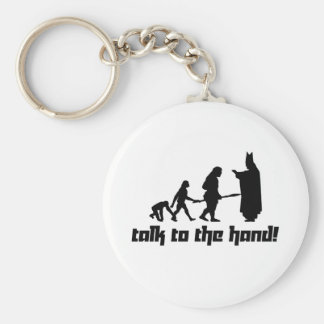 Talk to the hand! basic round button key ring