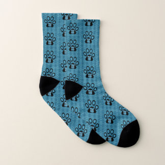 Talk to the Paw Cat Lover Blue and Black Cheetah Socks