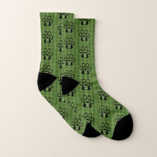 Talk to the Paw Cat Lover Green and Black Cheetah Socks