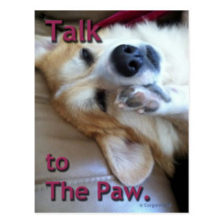 """Talk to the Paw"" Corgi Postcard"