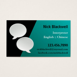 Talking Bubbles Interpreter Business Card