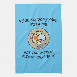 Talking Cockatiel Parrot Tea Towel