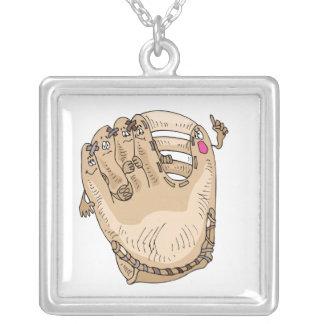 Talking Glove Square Pendant Necklace
