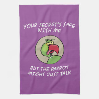 Talking Indian Ringneck Parrot Tea Towel