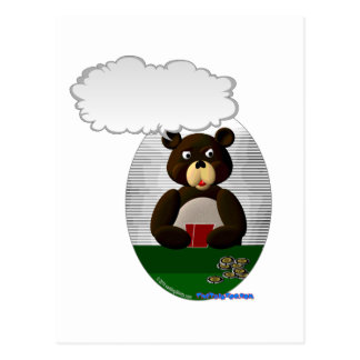 Talking Poker Teddy Bear Postcard