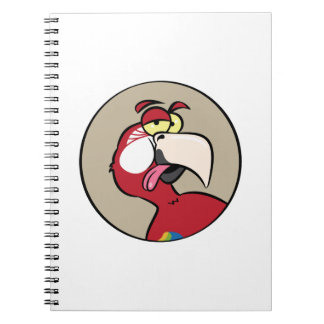 Talking Red Macaw Parrot Spiral Notebooks